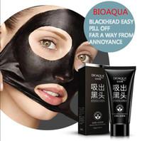 siyah akan sivilce tedavisi siyah çamur toptan satış-BIOAQUA siyah nokta yüz maskesi kadınlar ve erkekler sökücü siyah çamur maskesi emme derin temizlik yüz maskesi Anti Akne Tedavisi ÜCRETSIZ USPS