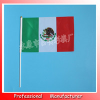 Wholesale Flag Pole Wholesale - 14*21cm Mexico flag with white pole and golden tip,Wholesale polyester material Flags good quality small National flags