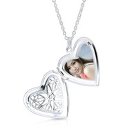 "Wholesale Wholesale Thick Silver Chains - Locket Pendant Necklace 925 Sterling Silver Wedding Heart 1.7mm Thick Fashion Accessories Can Put Photos Christmas Gift 18"" inch XL000467"