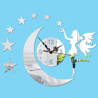 Wholesale Diy Resin Wall - Fairy Stars Moon DIY kids Resin Mute Wall Clock Modern Contemporary Style Child Fashion wall art clock Black sticker Houses Wall Clocks