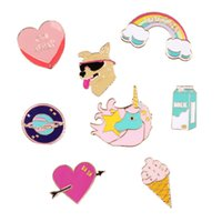 Wholesale Scooter Jewelry - Wholesale- Free Shipping Cartoon Cute Scooter Dog Heart Unicorn Rainbow Rocket Metal Brooch Pins Badge Jewelry For Women Gift Wholesale