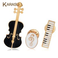 Wholesale Violin Notes - Wholesale- 3Pcs Set Luxury Gold Plated Brooches For Women Black Violin White Piano Note Brooch Pins Fashion Jewelry Accessories Gifts