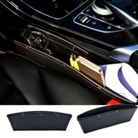 Wholesale Cars Caddy - 2x PU Leather Catch Catcher Box Caddy Car Seat Gap Slit Pocket Storage Organizer Free Shipping