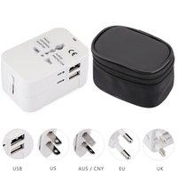 Wholesale Multifunctional Usb Adapter - HHT202 Multifunctional Travel Adapter International Plug Dual USB Charging Port Universal AC Socket Drop Protection Bag