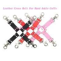 Wholesale Hogtie Bondage - Sex Products Accessories Pu Leather Cross Belt For Hand Ankle Cuffs Bondage Tape Hogtie Restraints Fetish Adult Game Sex Toys