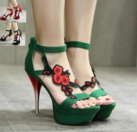 Party Club Green Broderie à la fleur Talons hauts Stilettos Red Black Open Toe Chaussures à cheville Taille 35 à 40