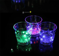 Wholesale Mascot China - Luminous Cup Octagonal Induction Cups Water Creative Luminescent Glass Induction Moonlight Led Colorful Cold Light Mugs 4 9jc R