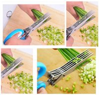 Wholesale Scissors Herbs - Stainless Steel Cooking Tools Kitchen Accessories Knives 5 Layers Scissors Sushi Shredded Scallion Cut Herb Spices Scissors