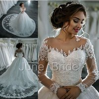 Wholesale Illusion Bridal Gowns Winter - Winter Illusion Long Sleeve Ball Gown Wedding Dress New Style High Quality Custom Made Beaded Lace Applique Sheer Court Train Bridal Dresses