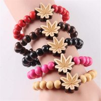 Wholesale Good Wood Hiphop Wholesale - Creative Hiphop Good Wood Carving Maple Leaf Beads Bracelets Bangles For Men And Women Fashion Charm Jewelry Best Gifts Strands DH228