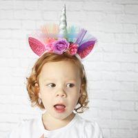 Wholesale Ball Hair Accessories - HOT Unicorn Hair Sticks Girls Hair Accessories Lace Flower Hairbands Ball Headwear Princess Birthday Party Halloween Hair Band A7052