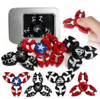 Capitaine Amérique Bouclier En Gros Pas Cher-100pcs en gros Fidget Spinner Superman Capitaine Amérique Shield Iron Man Spiderman Spinner à main EDC Finger Spinner Metal Tri-Spinner