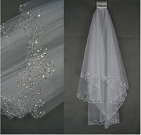 Wholesale Cheap Bling Hair - Bling Bling 2017 Trendy Elegant Bridal Veils With Comb Wedding Veils Stock Cheap Beads and Sequins Bridal Hair Tulle Two Layers Headband
