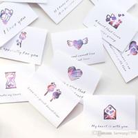 regalo de vacaciones de san valentín al por mayor-6 unids / lote amor tema tarjeta de mensaje plegable con sobre de San Valentín día de la boda bendición tarjeta de felicitación tarjeta de regalo vacaciones universa