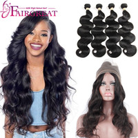 Wholesale Natural Color Hair Extensions - Body Wave And Straight Human Hair Products With 360 Frontal 4Bundles Brazilian Virgin Hair Extensions Natural 1b black color Wholesale price