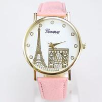 Wholesale watch paris - Geneva imitation leather watch Popular contracted Geneva, Geneva watch fashion watch wrist of Paris Eiffel Tower and The arc DE triomphe