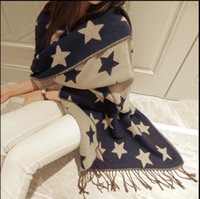 Wholesale Long Double Sided Shawl Wrap - Star Pattern Women's Cashmere Blending Shawls Super Long 200cm Fashion Women's Scarf Autumn Winter Thick Brief Double-sided Oversized Shawl