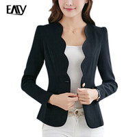 Wholesale ladies coat office wear - Wholesale- 2017 New Arrive Spring Slim Women Office Coat Casual Women Jacket Long Sleeve One Button Suit Ladies Black White Work Wear S-XL