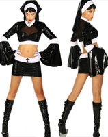 Wholesale Sexy Nun Uniform - Sexy Costumes Nuns Fancy Halloween Costume For Women Cosplay Nun Outfit Dresses Masquerade Role-Playing Uniform Catsuit Dress