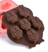 ingrosso muffa di silicone di pudding di gelatina-Strumenti di cottura all'ingrosso muffa della torta del silicone durevole muffa variopinta del piccolo gufo Stampe di gelatina di cioccolato pudding Vendita calda 2kn R