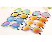 Wholesale Toddlers Glasses Frames - 2015 Kids Toddlers Fashion Round Sunglasses acetate frame metal tips Eyeglasses Spectacles UV400 Sun Glasses 8 Colors 20pcs lot