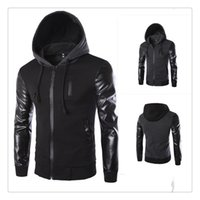 Wholesale Korean Winter Fashion Design - Jackets for Men Autumn&winter Korean Style Fashion Sleeves Stitching Leather Design Men's Casual Hooded Jackets US Size:XS-L