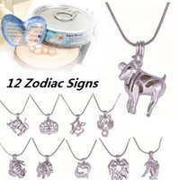 Wholesale Wholesale Canned - 12 Zodiac Sign Love Wish Pearl Cages Locket Necklace Oyster Pendant Necklace (Excluding Pearl Canned) Constellation Jewelry