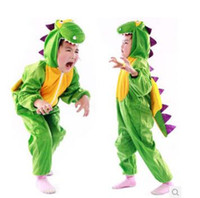 Wholesale dinosaur pyjamas - Christmas Halloween party children cosplay costume Cute Children Dinosaur Pyjamas Soft Flannel Dinosaur Jumpsuits 6 p l