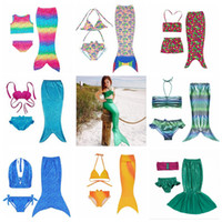 Wholesale Swimming Costume Girl - Girl Mermaid Tail Swimmable Kids Mermaid Tail Bikini Set Mermaid Fins Swimsuit Swimwear Swimming Beachwear Bathing Suit Costume OOA2004