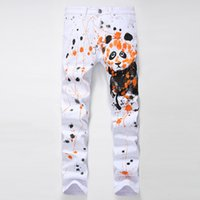 Wholesale Lion Drawings - Wholesale- 2016 New Arrival Mens Hand Drawing Jeans White Panda Animal Pattern 3d Print Hand Painting Jeans Fashion Lion Printed Pants