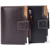 Wholesale vintage change holder - Baborry New Design Men Wallets Carteira Black Brown Color Quality 3 Fold Hasp Documents ID Card Holder Zipper Coins Change Purse
