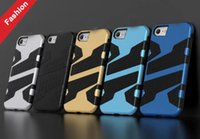 Iphone 5c Wave Case Pas Cher-Hybrid Armour TPU PC Hard Case Pour Iphone 7 Iphone7 I7 SE 5 5C 5S 6S 6 PLUS Mode double couche Slim Wave Mesh ShockProof Skin Cover Impact