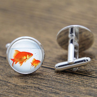Wholesale Fish Bowl Goldfish - 10pair lot Fish cufflink, Goldfish Bowl Fish Bowl Art Nature Art cufflink Aquarium print glass cufflink