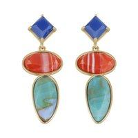 Wholesale Luxury Boho Fashion - 2017 fashion Acrylic Boho Long Tassels big gem Drop earrings fashion luxury Dangle Chandelier earrings for women statement jewelry wholesale
