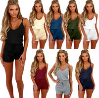 Wholesale Womens Xl Cami - Ladies Elastic Waist Drawstring V-Neck Spaghetti Strap Sleeveless Sexy Romper Womens Cami Straps Casual Playsuit Jumpsuit Siamese Shorts