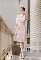 Wholesale Dresses For Work Summer - Classy pink work dresses for summer american dress boat neck office dress with ruffle waist dress short sleeve