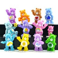 Wholesale Wholesale Care Bears - 12pcs set Japanese Anime kawaii Action Figure Care Bears Best Kids Toys For Boys And Girls Gift Rainbow Bear Ornaments Decorative JC117