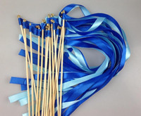 Wholesale Wholesale Wedding Streamers - Twrling fairy ribbon streamers wedding ribbon wooden sticks angel wands with bells confetti party decorations hot practical gift