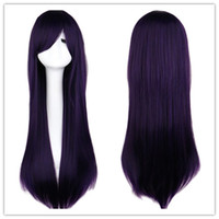 Wholesale Long Black Hair Man Wig - Women Men Long Straight Anime Cosutme Party Mixed Black Purple Wig Cosplay 80 Cm High Qulaity Synthetic Hair Wigs
