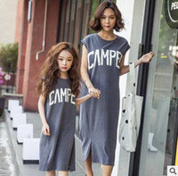 Wholesale Dress Clothes Korea - Mother and Daughter Matching Dress 2017 Mother Daughter Clothes Cotton Dress Maxi Dresses Korea Clothes Cotton Long Dress Family Clothing