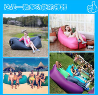 Wholesale Fast Inflatable Air Sleeping Bag Hangout Lounger Air Camping Sofa Portable Beach Nylon Fabric Sleep Bed with Pocket and Anchor HHAK