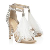 zapatos de tacón de cristal al por mayor-Zapatos de boda de plumas de moda de 2019 4 pulgadas zapatos de tacón alto cristales de diamantes de imitación con cremallera sandalias de fiesta zapatos para mujeres sin logotipo