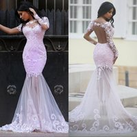 Wholesale Evening Gowns Lace Pink - Arabic Style Pink Lace Mermaid Prom Dresses Long Sheer Illusion See Through Skirt Modest Formal Evening Gowns Sleeves Plus Size Party Dress