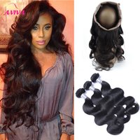 Wholesale Lace Closures Peruvian Wavy Hair - 360 Full Lace Frontal Closure With 3 Bundles Brazilian Virgin Human Hair Weaves Body Wave Peruvian Indian Malaysian Cambodian Wavy Remy Hair
