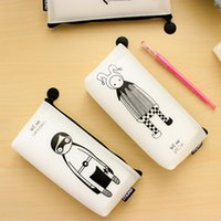 Atacado 1PCS Kawaii Cute Cartoon Silicone Lápis Case Pen Storage Bag Coin Pouch Papelaria Material escolar Maquiagem Cosmetic Bag