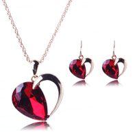 ohrring haken rot großhandel-Frauen Red Crystal Anhänger Versilbert Kette Halskette Haken Ohrring Schmuck-Set