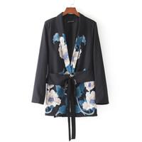 Wholesale belted suit jacket - Wholesale- 2018 Women Fashion Vintage Retro Floral Print Kimono Suit jacket Brand waist sashes Outwear business wear Coat Tops CT008