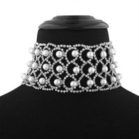 Wholesale Vintage Pearl Collar Necklace - 2017 New Imitation Pearls Rhinestone Collar Choker Necklace Chain Vintage Gem crystal Maxi statement Necklace for women Jewelry Wholesale