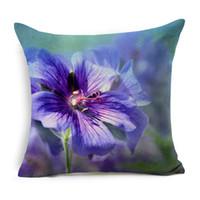 menekşe bitkileri toptan satış-Doğal Bitkiler Çiçekler Yastık Örtüsü Desen Yastık Kılıfı 45 cm * 45 cm Polyester Pamuk Kare Yastık Ev Tekstili