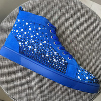 New Hommes Star Star Strass Avec Bleu Suede Haut Haut Bas Bottom Sneakers, Brand Flat Boots Casual Shoes 35-47 Drop Shipping
